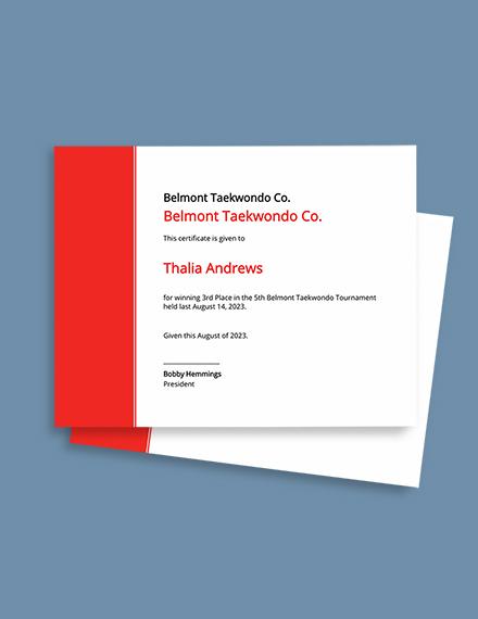 Editable Taekwondo Certificate Template