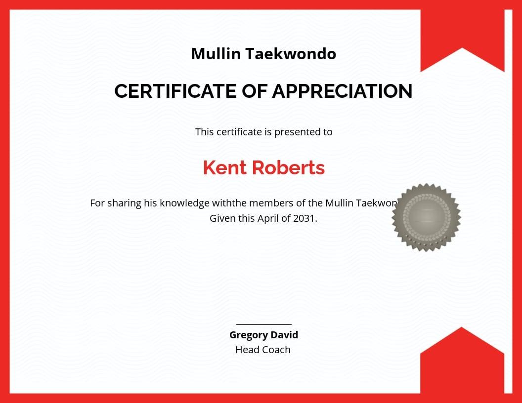 Taekwondo Coach Appreciation Certificate