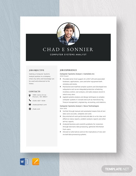 Computer Systems Analyst Resume Template