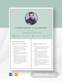 Computer Technologist Resume Template