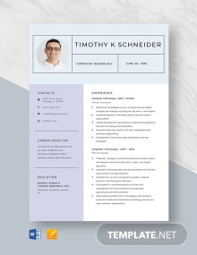 Computer Technology Resume Template