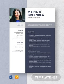 Conference Manager Resume Template
