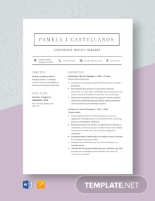 Conference Service Manager Resume Template