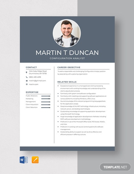 Configuration Analyst Resume Template