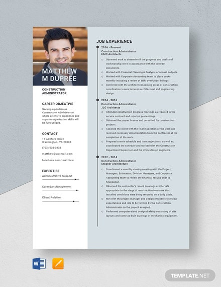 Construction Administrator Resume Template