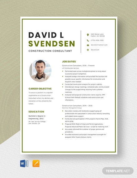 Construction Consultant Resume Template