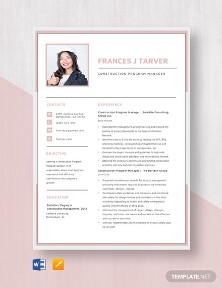 Construction Program Manager Resume Template
