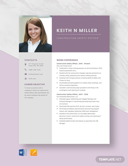 Construction Safety Officer Resume Template