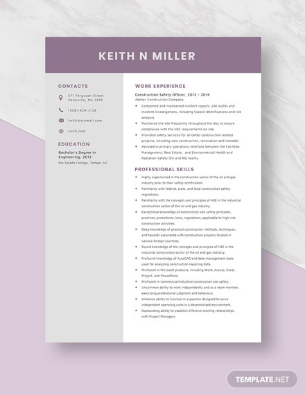Construction Safety Officer Resume Template [Free Pages] - Word, Apple Pages
