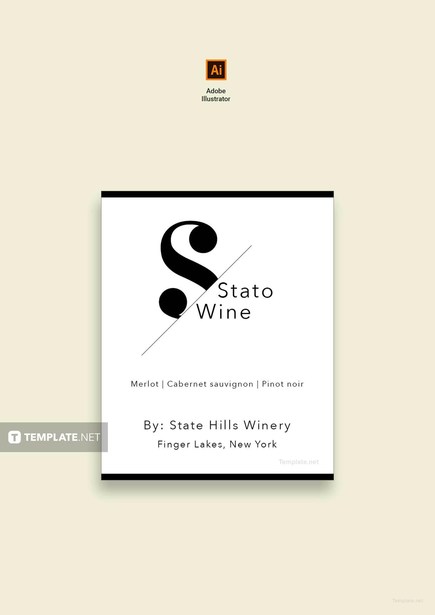 free mini wine label template adobe lllustrator. Black Bedroom Furniture Sets. Home Design Ideas