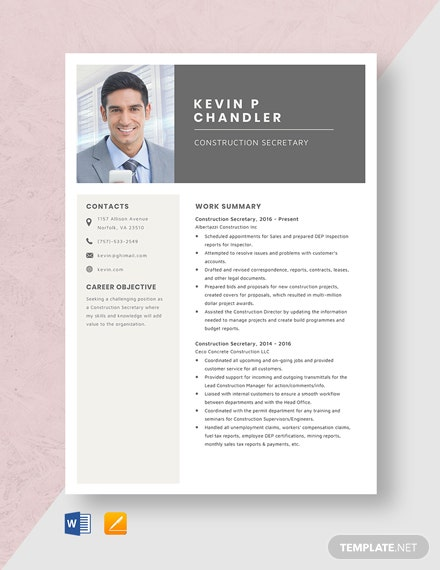 Construction Secretary Resume Template [Free Pages] - Word, Apple Pages
