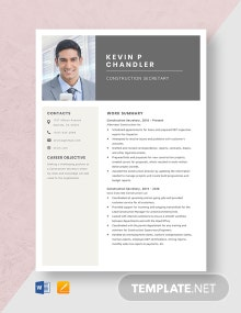 Construction Secretary Resume Template
