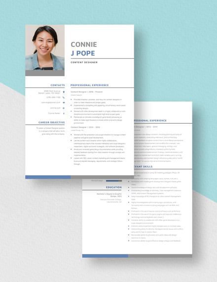 Content Designer Resume Download