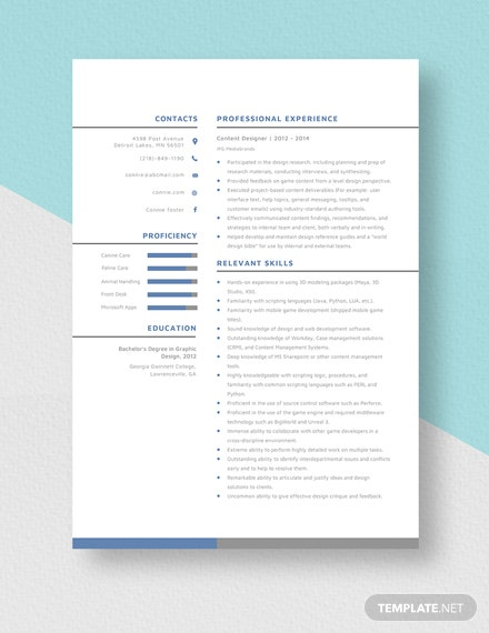 Content Designer Resume Template