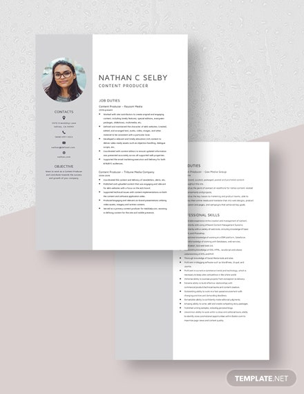 Content Producer Resume Download