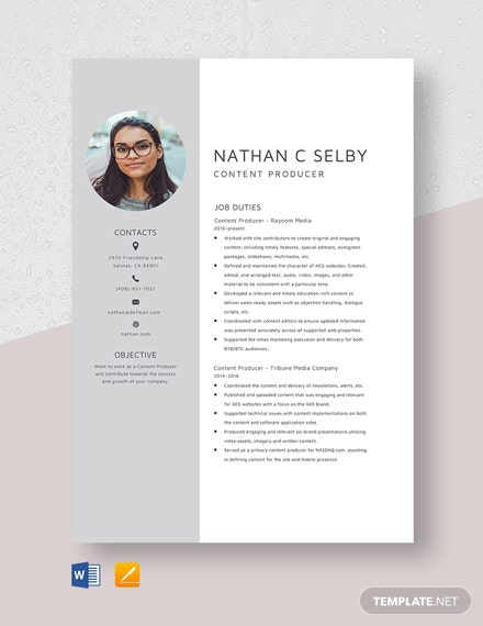 Content Producer Resume Template