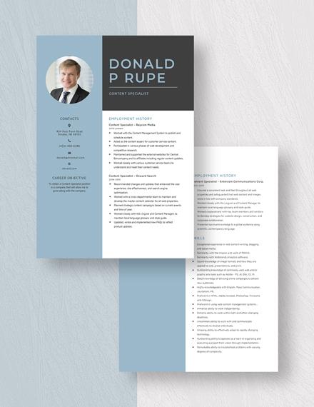 Content Specialist Resume Download