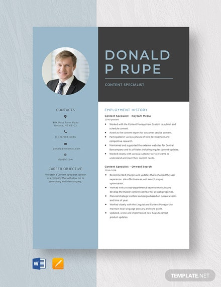 Content Specialist Resume