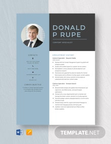 Content Specialist Resume Template