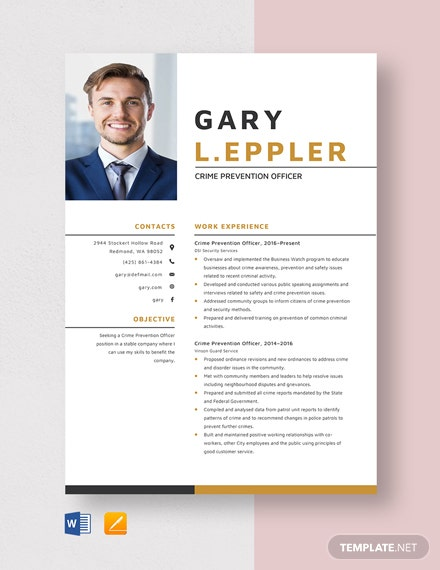 Crime Prevention Officer Resume Template