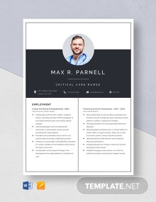 Critical Care Nurse Practitioner Resume Template