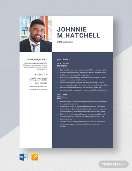 CRM Manager Resume Template