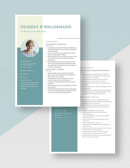 Curriculum Writer Resume Download