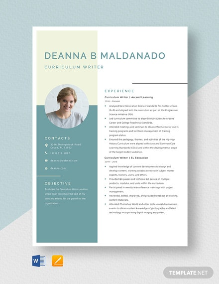 Curriculum Writer Resume Template