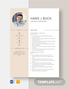 Custodial Supervisor Resume Template