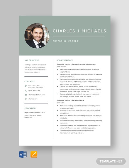 Custodial Worker Resume Template