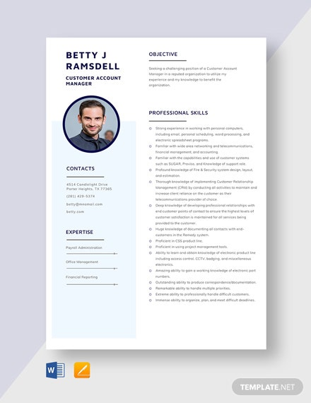 Customer Account Manager Resume Template