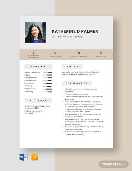 Customer Account Specialist Resume Template