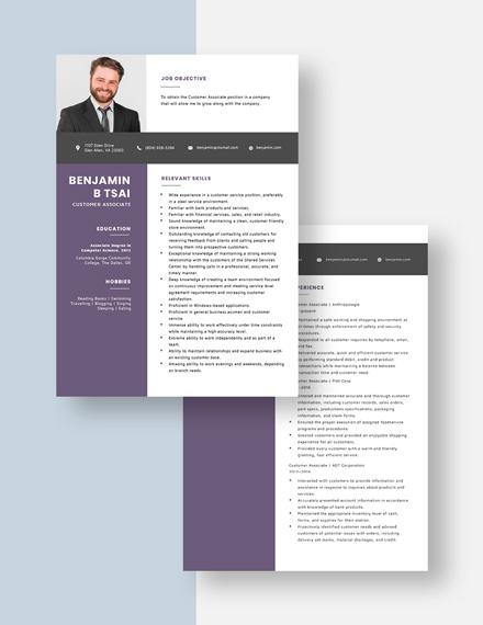 Customer Associate Resume Download