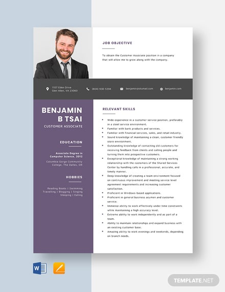 Customer Associate Resume Template