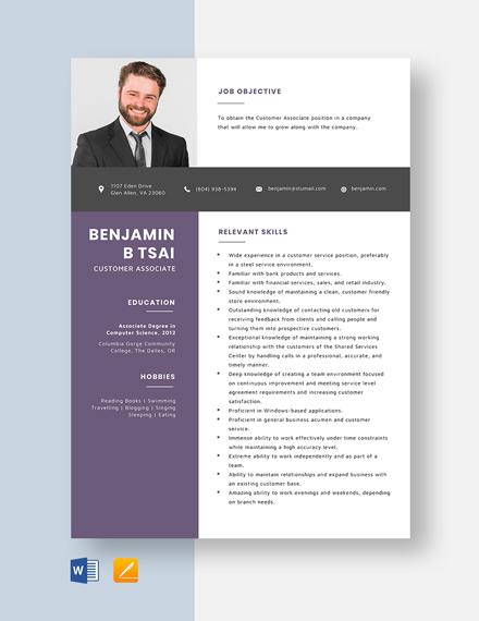Customer Associate Resume Template