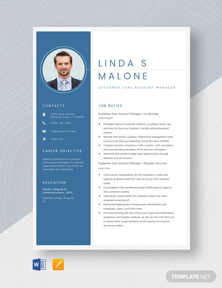 Customer Care Account Manager Resume Template
