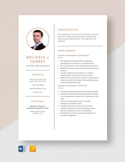 Customer Care Consultant Resume Template