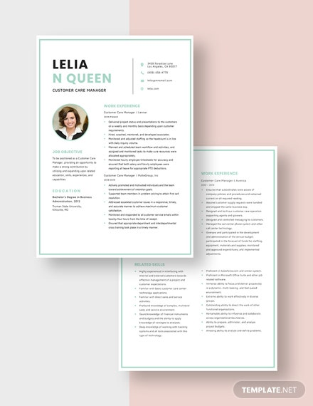 Customer Care Manager Resume Download