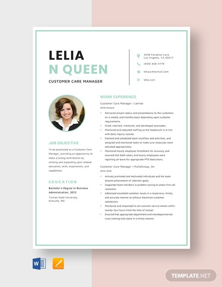 Customer Care Manager Resume Template