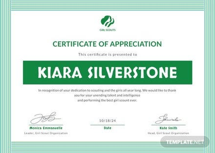 Free Girl Scout Appreciation Certificate Template in Adobe ...