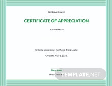 Free Girl Scout Appreciation Certificate Template