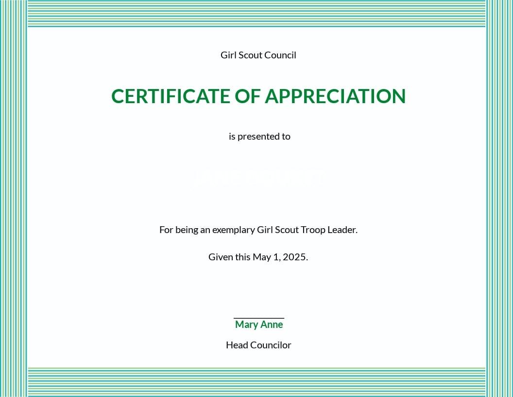 Girl Scout Appreciation Certificate Template