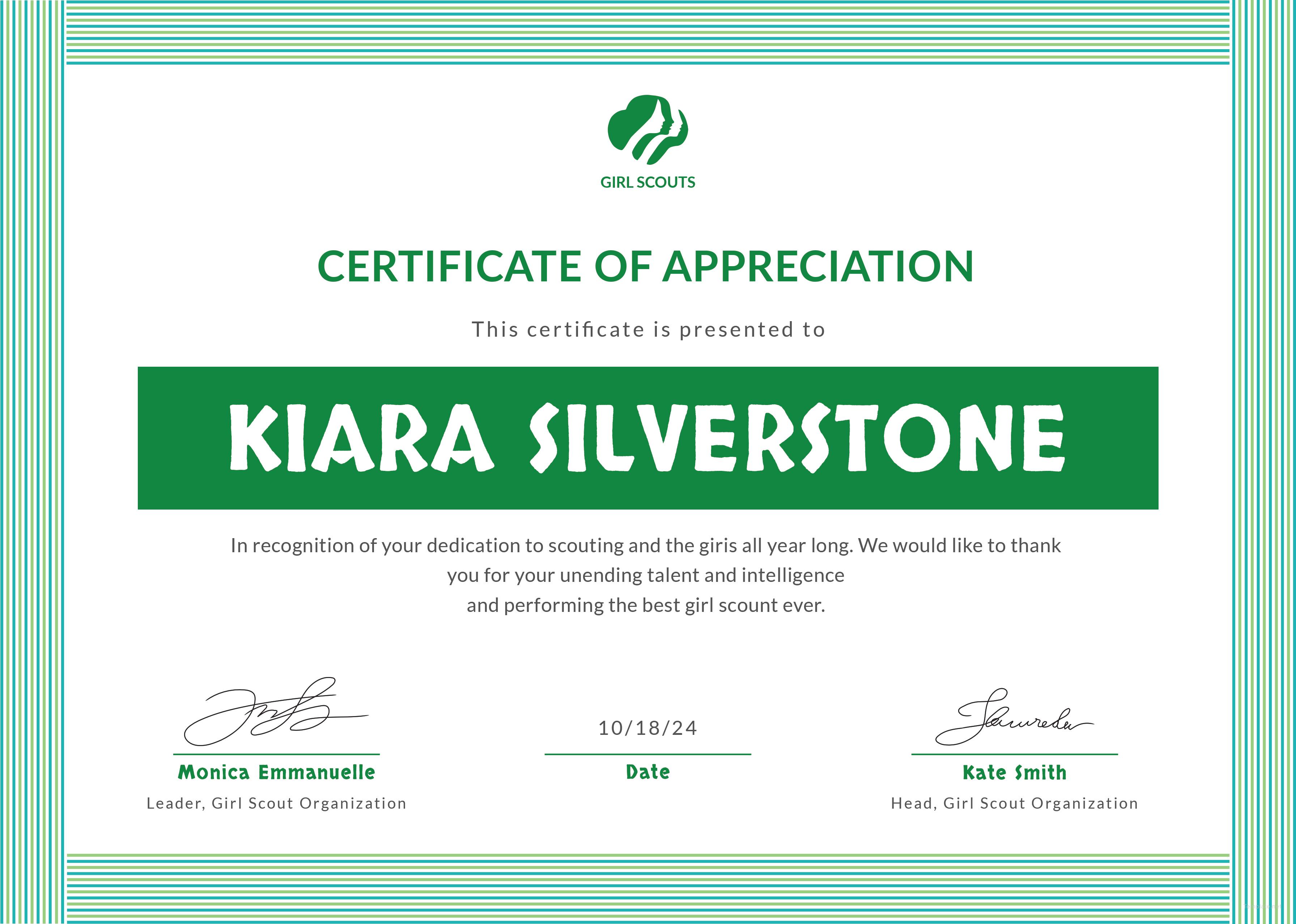 free girl scout appreciation certificate template in adobe