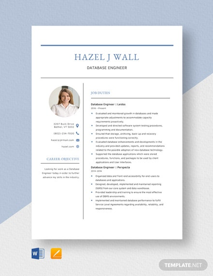 Database Engineer Resume Template