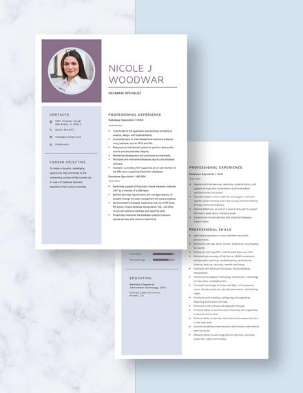 Database Specialist Resume Download