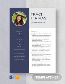 Day Camp Counsellor Resume Template