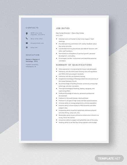 Day Camp Director Resume Template