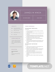 Day Camp Leader Resume Template
