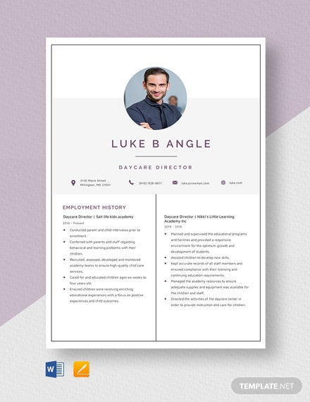 Daycare Director Resume Template