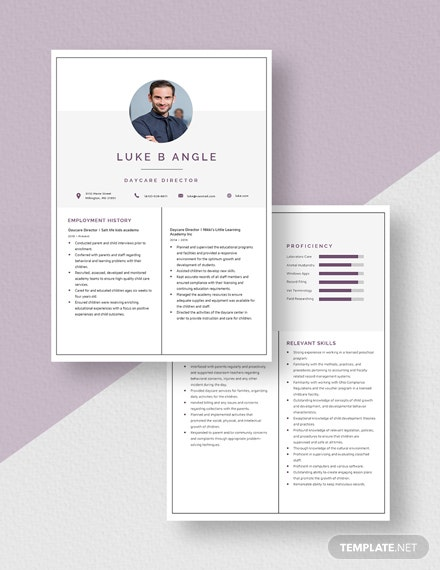 Daycare Director Resume Template Download